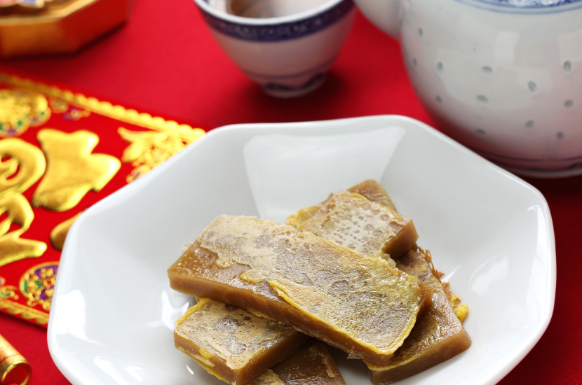 Sliced and fried niangao from Chinese New Year